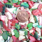 3oz Coral Red Ivory Green Christmas Crushed Seashells Mosaic Vase Filler Shell
