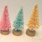 *3* THIN MINI Bottle Brush Christmas Trees Dollhouse Miniatures Sisal Pink Blue