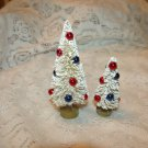 Minis Bottle Brush Trees Miniatures White Red Blue Beads July 4th Flag Patriotic