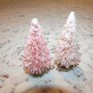 Mini Pink Rose Christmas Bottle Brush Tree Shabby Sisal Dollhouse Miniature Chic
