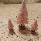 3 Pink Bottle Brush Trees Shabby Chic Flocked Crystal Glitter
