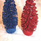 2 Flocked Red Blue Sisal Tree Bottle Brush July 4th Independence Day Glitter