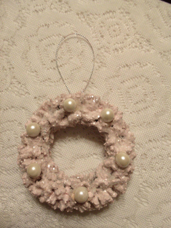 Pink White Pearls Wreath Tree Ornament Shabby Bottle Brush Chic Christmas