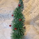 Green Bottle Brush Flocked Christmas Tree Red Balls Flocked Sisal