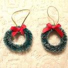2 Mini Green Christmas Tree Wreath Ornaments Bottle Brush Dollhouse Miniature Do