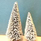 2 Mini Flocked Green Trees Sisal Bottle Brush Christmas Putz Village Garden Lot