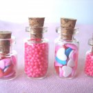Valentine's Day Mini Candy Hearts Red White Miniature Glass Bottles Cork Shop