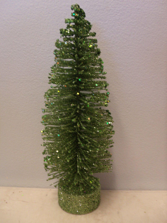 9 in. Green Lime Bottle Brush Flocked Christmas Tree Sisal Shabby Chic Glitter