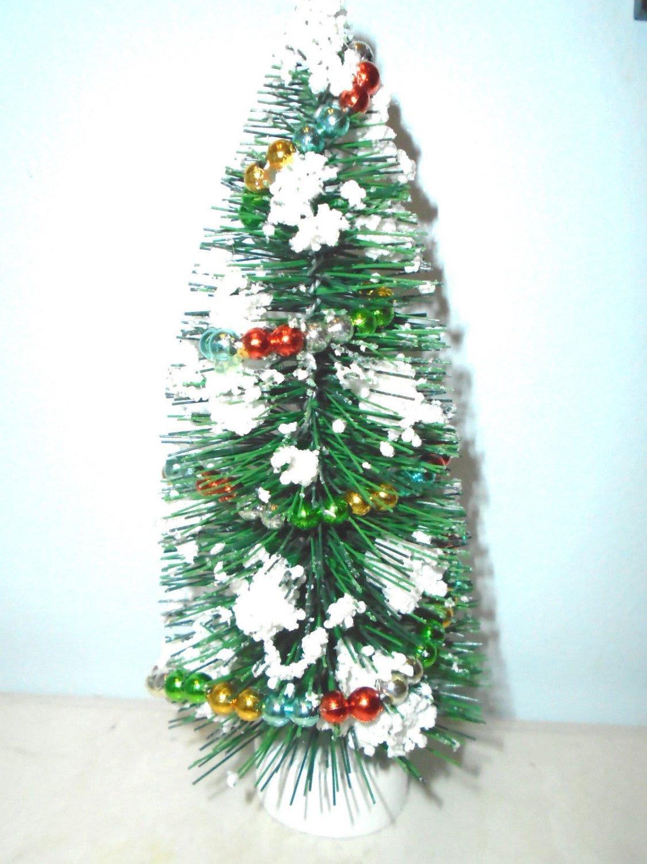 7in Green Bottle Brush Flocked White Christmas Tree Sisal Shabby Beaded Garland
