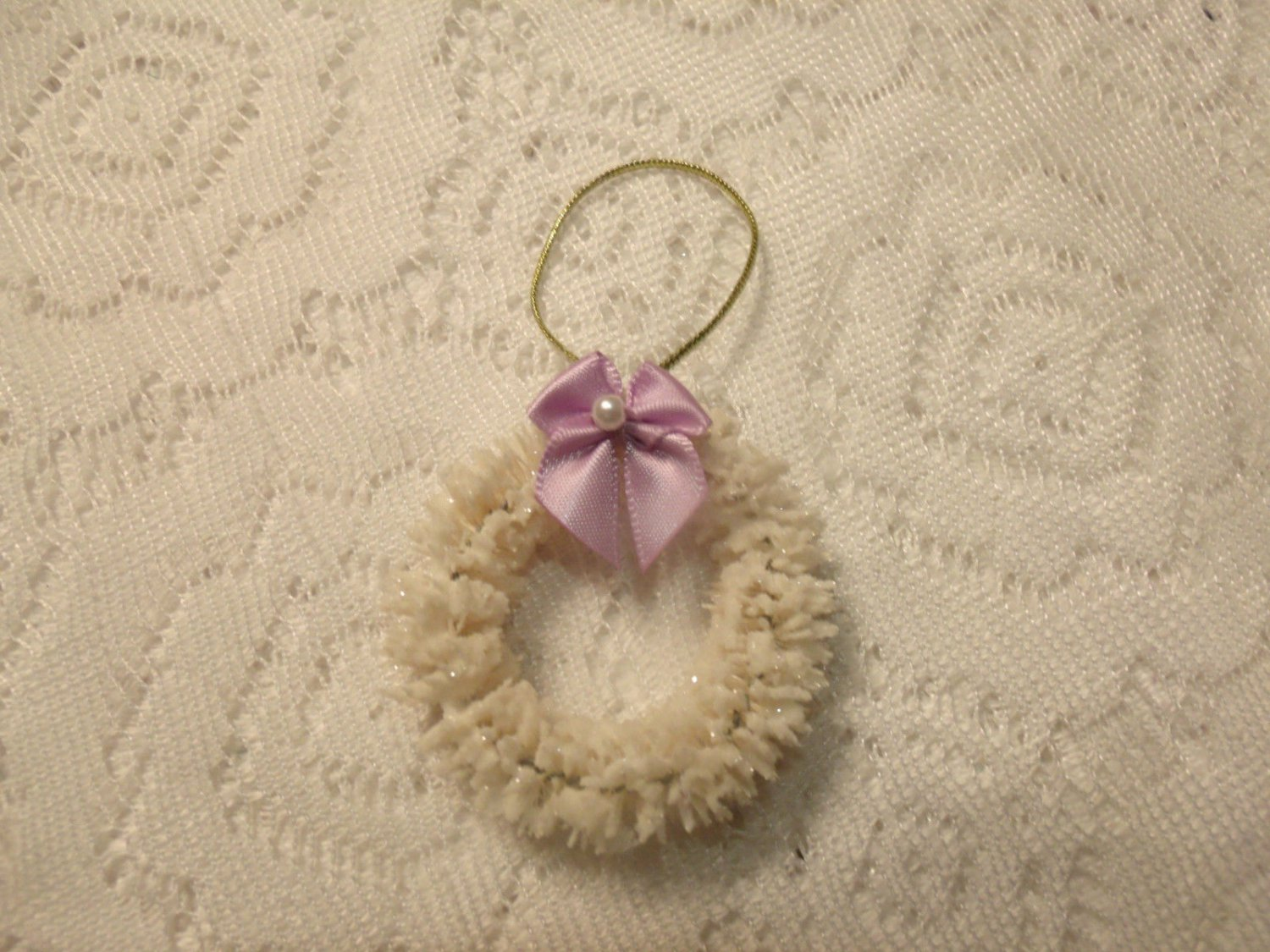 MINI Wreath Tree Ornament Shabby Bottle Brush Christmas Miniature Lavender Bow