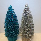 Flocked Turquoise Blue Silver Sisal Trees Bottle Brush Christmas Glitter Crystal