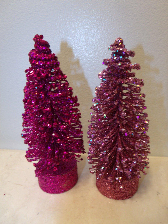 2 Flocked Magenta Dusty Pink Sisal Tree Bottle Brush Christmas Glitter Crystal