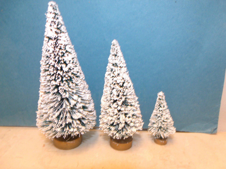 3 Mini Flocked Green Trees Sisal Bottle Brush Christmas Putz Village Garden Lot