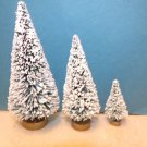 3 Mini Flocked Green Trees Sisal Bottle Brush Christmas Putz Village Garden Lot