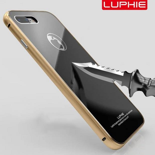 Tempered Glass Back Cover Set for iPhone 7  Plus Case Metal Aluminum Metal Frame(Color Gold)