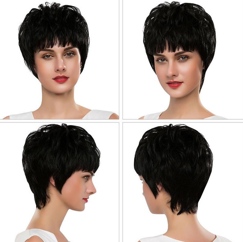 EMMOR Stylish Full Bangs Short Straight Capless Human Hair Wigs High Quality