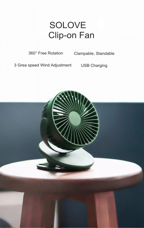 Clip Mini Fan F3 Portable Handheld Windshield 360 Degree (Green)