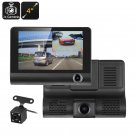 Car DVR Kit - 3 Cameras, G-Sensor, Loop Recording, Rear View Parking Cam, 4-Inch Display