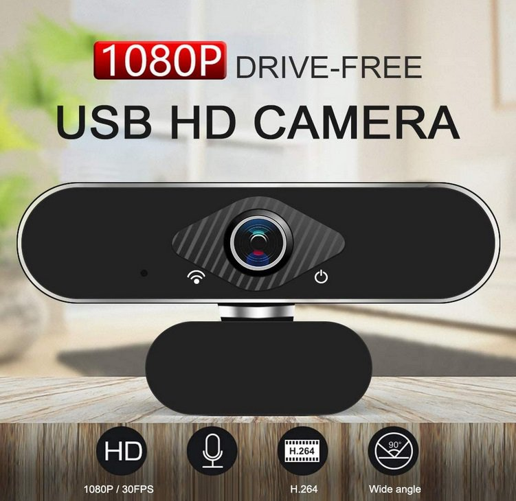 HD 1080P PC USB 2.0 Webcam with Built-in Microphone (black)