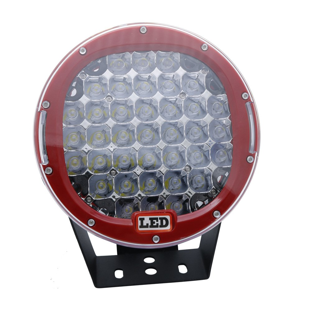 Off-Road Spotlight Bar w/ 9 -inch 185w Round LED Driving Light Auto Lamp Red Cover/ White light