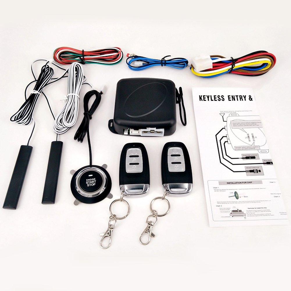 Remote Keyless Entry, Push Button Engine Starter Alarm Kit 9-pc set