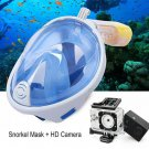 Full Face Snorkel Mask + HD 1080P Action Sports Camera (Turquoise)