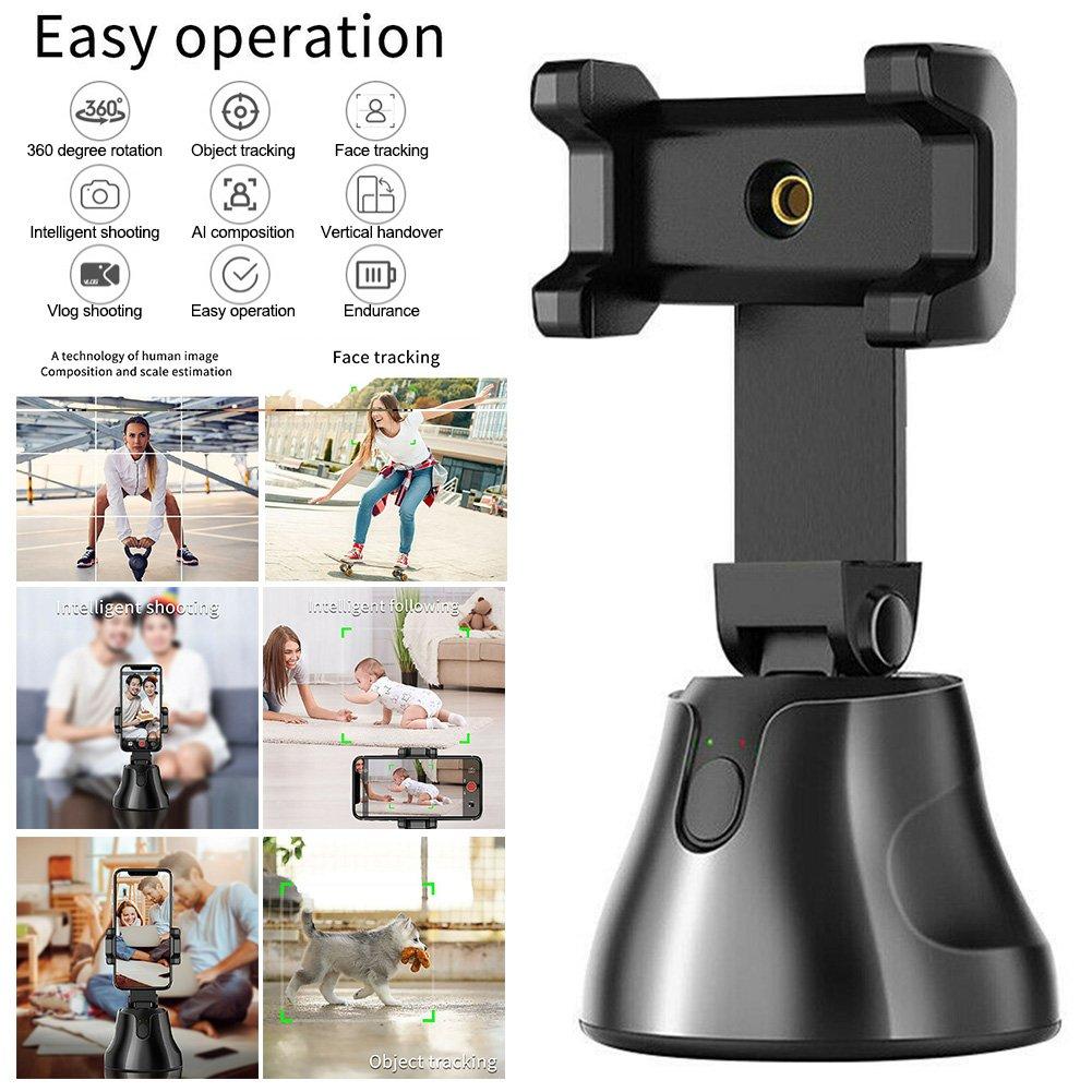 Selfie Stick 360 Degree Rotation Facial + Object Auto Tracking Camera Phone Holder (black)