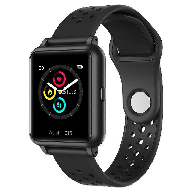 Smart Watch Temperature + Blood Pressure Monitor Bluetooth Sports Wristband (Black)