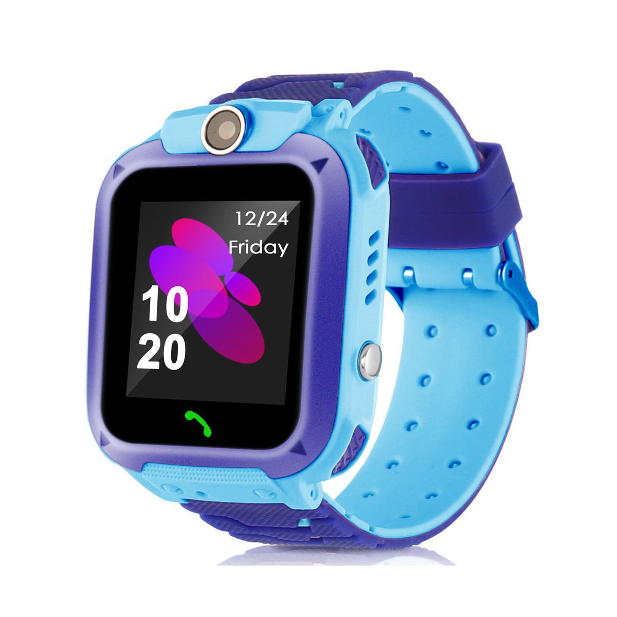 Kids Waterproof GPS Tracker Smart Watch for Android or iOS (Blue)