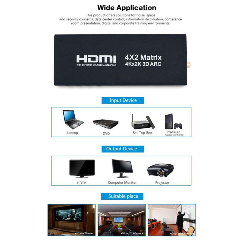 Portable HDMI Matrix 4X2 HDMI Splitter Switch Adapter Supports 4K x 2K with Remote Control