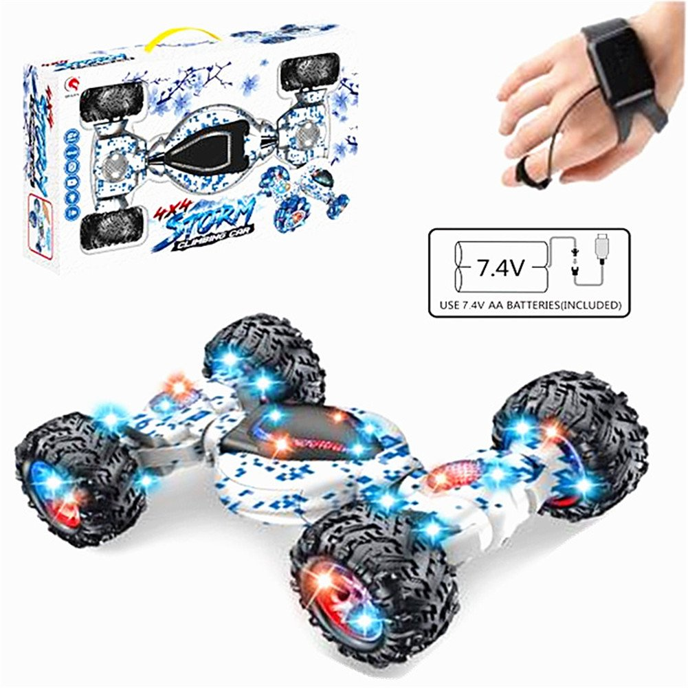 4x4 STORM RC Stunt Climbing Car 4WD 10CH Double-Side with LED Lights for Kids(blue)