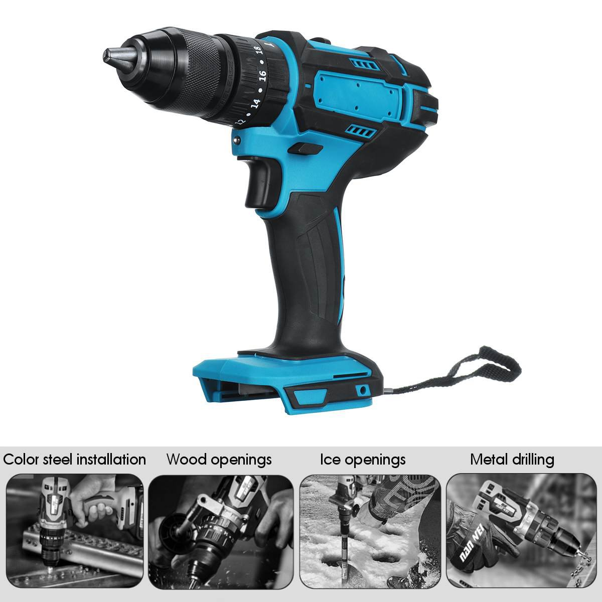 3-in-1 Electric Cordless Impact Drill 18V Electric Screwdriver Power Drill Tool
