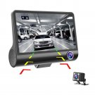 AD900 4-inch 1080P Triple Lens Car DVR Dash Cam 170-degree Rear View Camera (Black)
