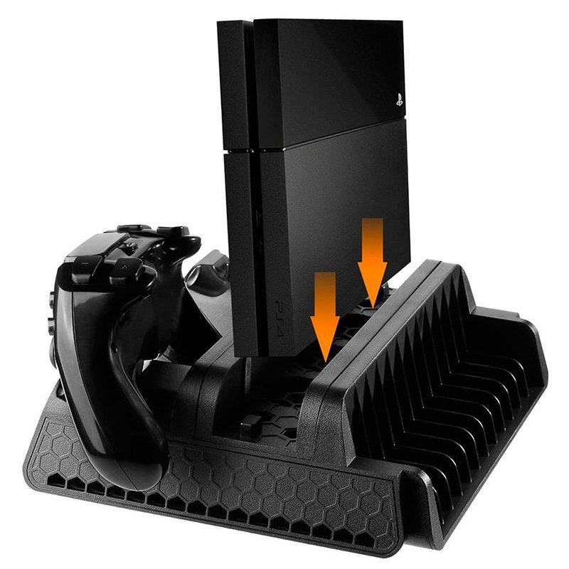 DOBE PS4 Series Vertical Cooling Stand Dual Controller Charging Base for PS4/PS4 Slim/PS4 Pro