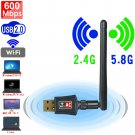 600Mbps Wireless Dual Band USB WI-FI Network Adapter with Antenna (Black)