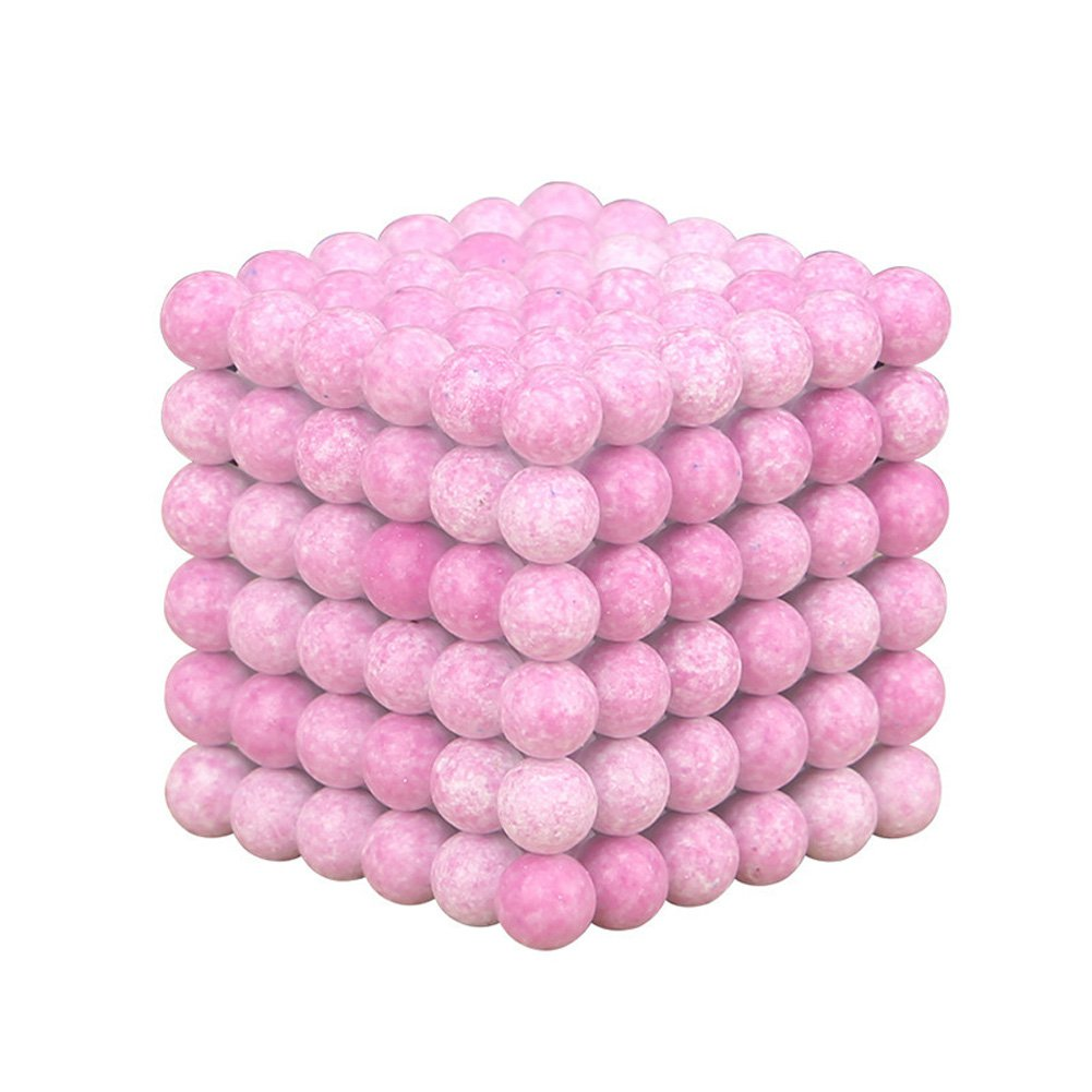 216pcs 5mm Magnetic Ball Children's Educational DIY Puzzle (Pink)+Iron Box