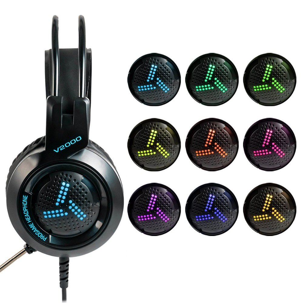 V2000 ProGame 7.1 Surround Sound LED Gaming Headset with Microphone (black)