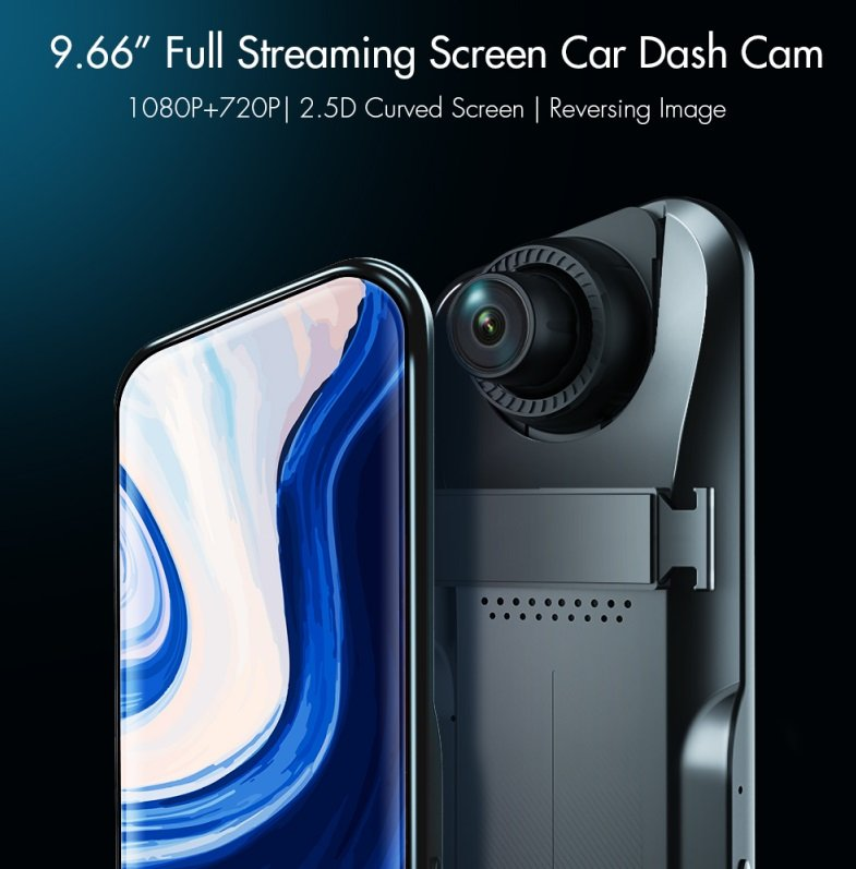 A46 Driving Recorder 9.66-inch Full Streaming Screen Car Dash Cam HD 2.5D curved glass (black)