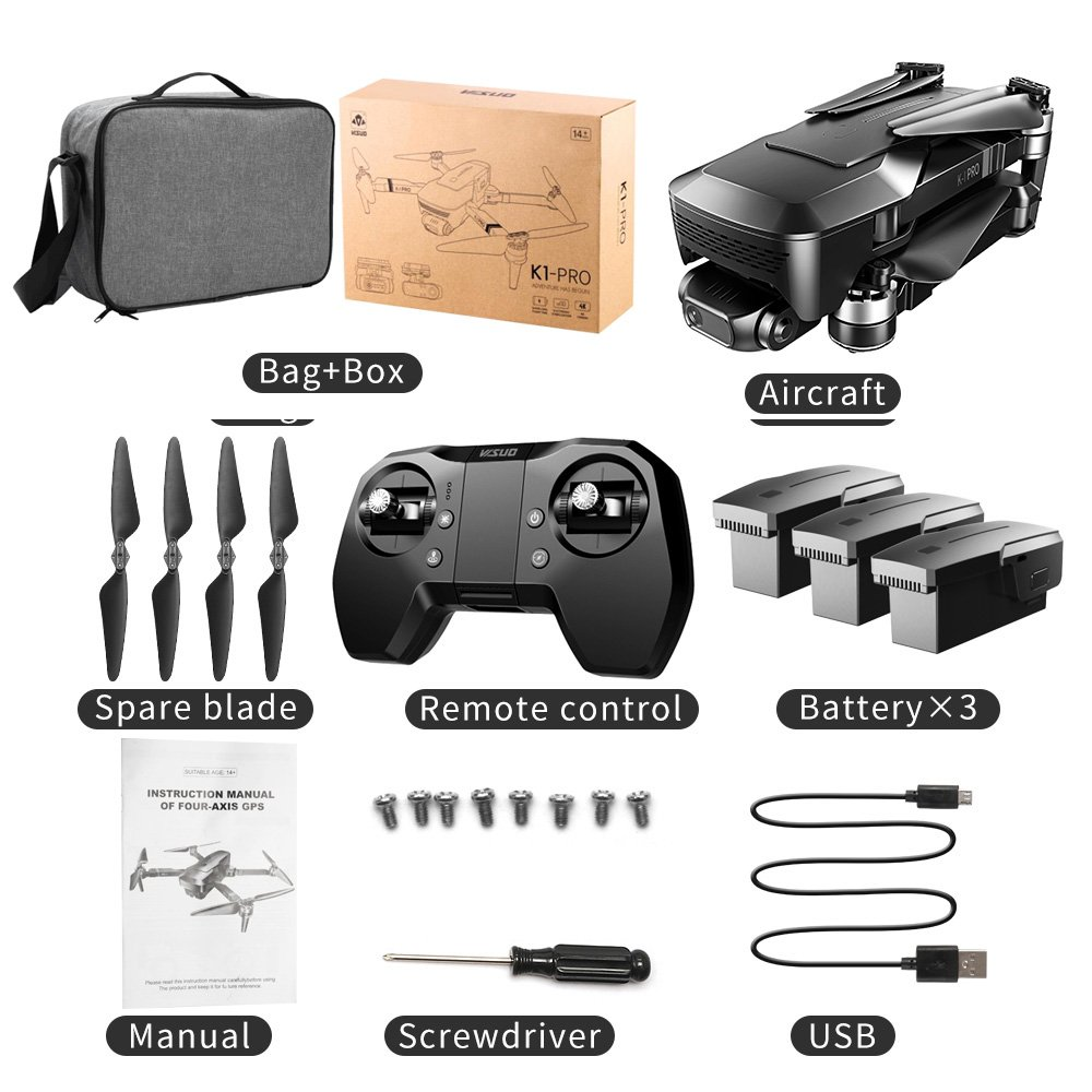 K1-Pro GPS Professional 2-axis Gimbal Camera 90 Deg Adj Drone KF107 Long Distance Pkg 3 batteries