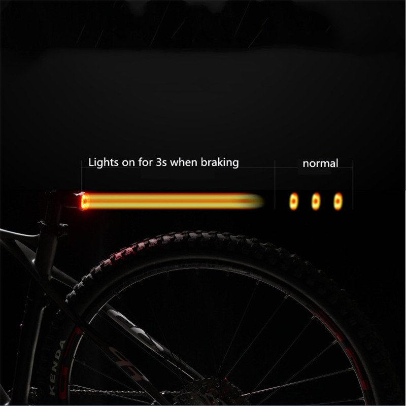 Intelligent Sensing Rear Brake Bicycle Taillights Set USB charging (black)