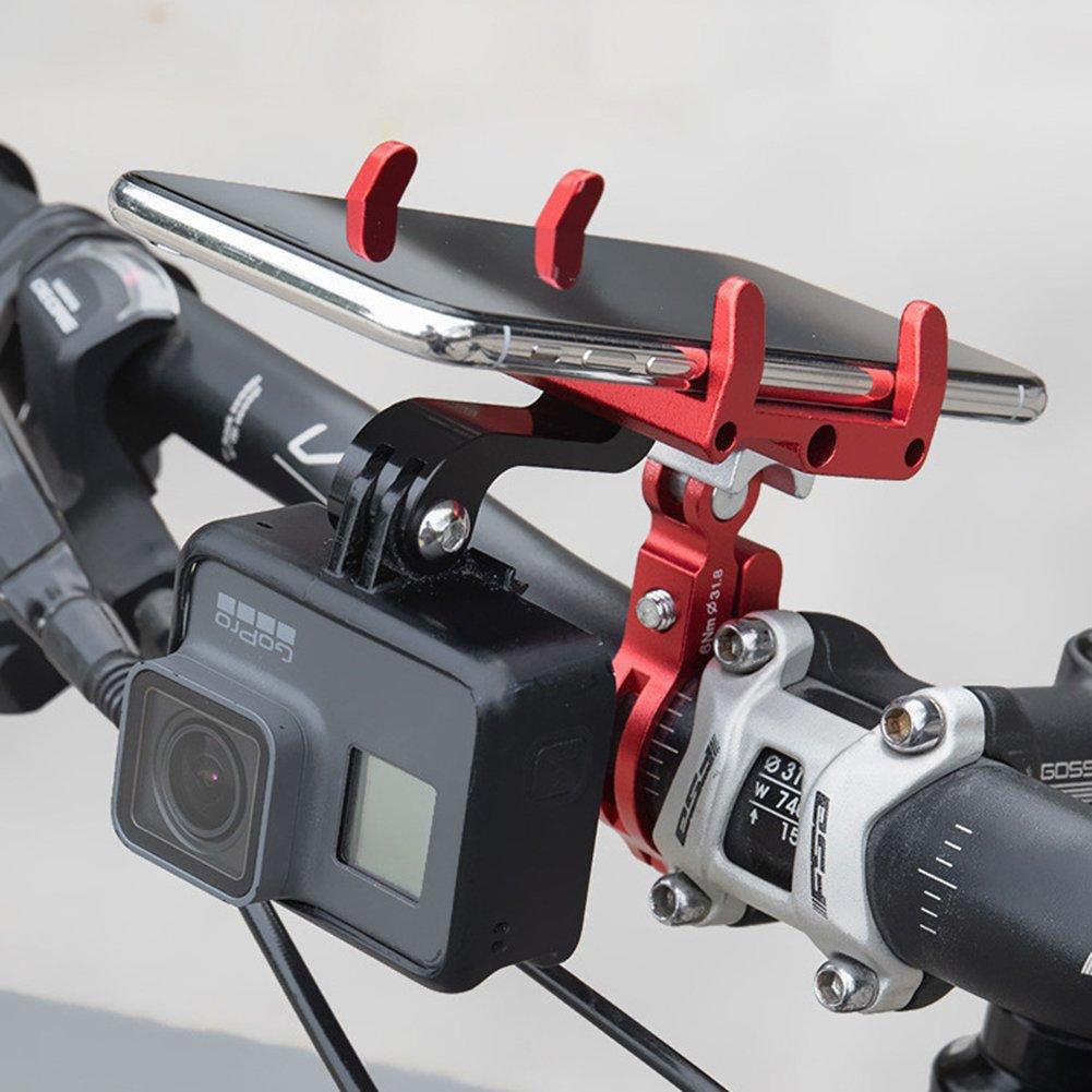 GUB Mountain Bike Aluminum Alloy Mobile Phone Bracket Holder 22.2-31.8 round handlebar(black)