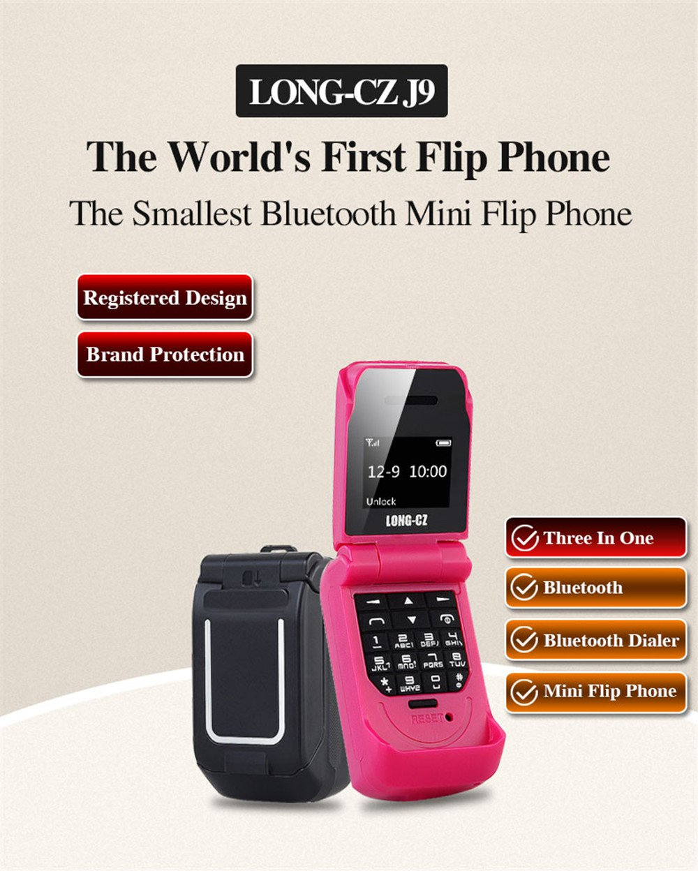Predator-Free Mini-flip Cell Phone for kids. (Rose Red)