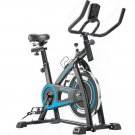 Indoor Bicycle Trainer With Comfortable Seat Cushion and Belt Drive System with LCD Monitor blue