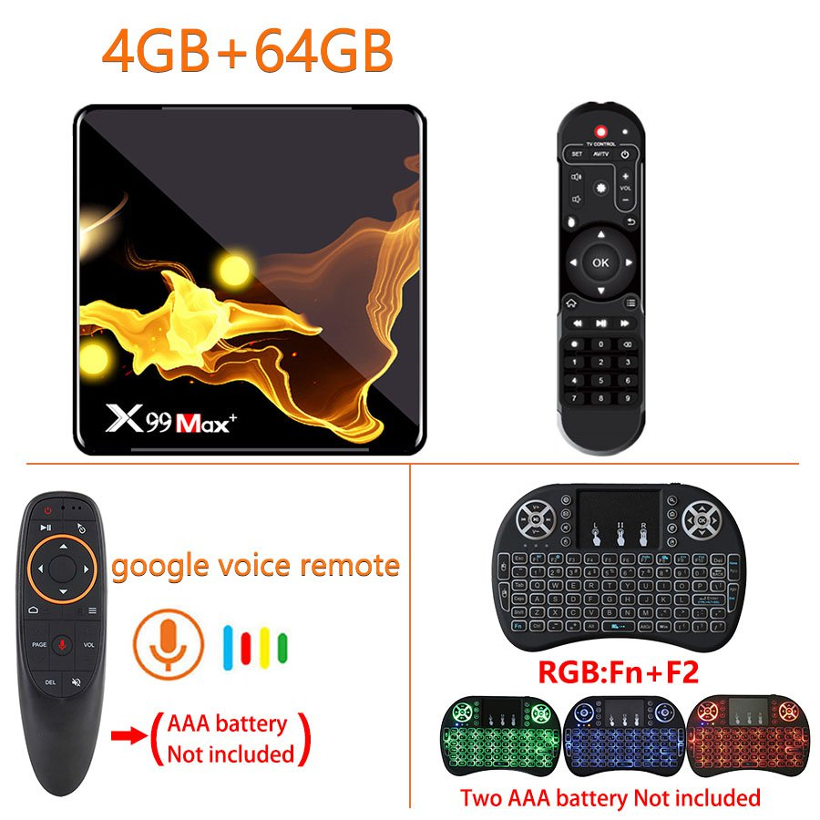 X99 MAX + Android Smart TV Box 4GB+64GB + I8 Keyboard +  G10s Google Voice Air Mouse (US Plug)