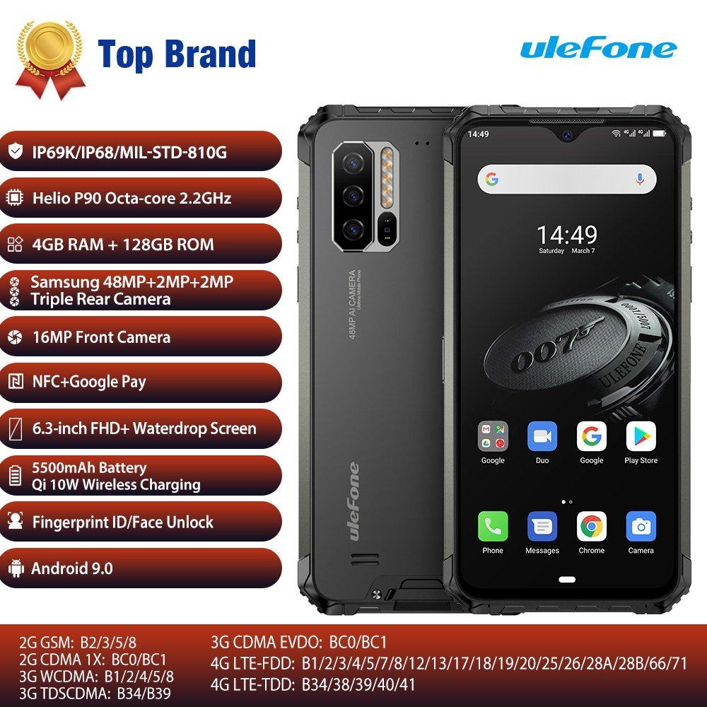 Ulefone Armor 7E Rugged 4G Android Smartphone 4GB+128GB  IP68 48MP AI Camera(black)