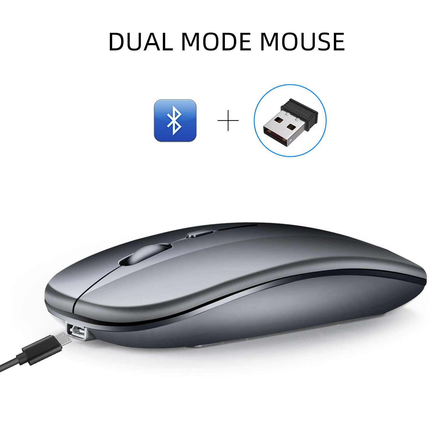 Dual Mode Bluetooth 4.0 + 2.4G Wireless Mute Computer Mouse for PC or Laptop (grey)