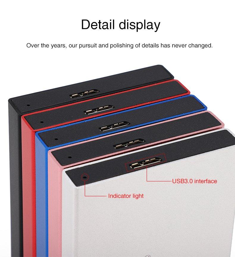 2TB External Hard Drive Disk HDD USB3.0 for PC/ Mac/ Tablet/ TV