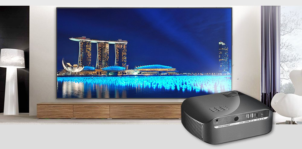 F10 Full HD 1080P Home LED Beamer-EU Plug(black)