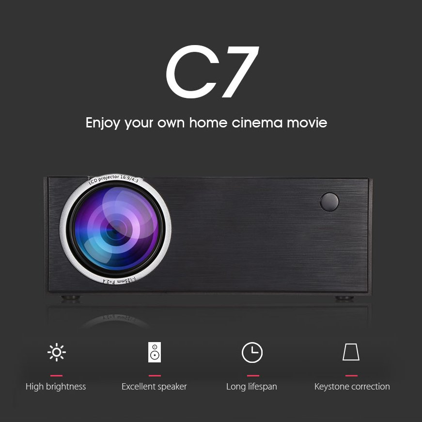 Alston C7 LED Video Projector For Home Cinema 2000 Lumens (black)