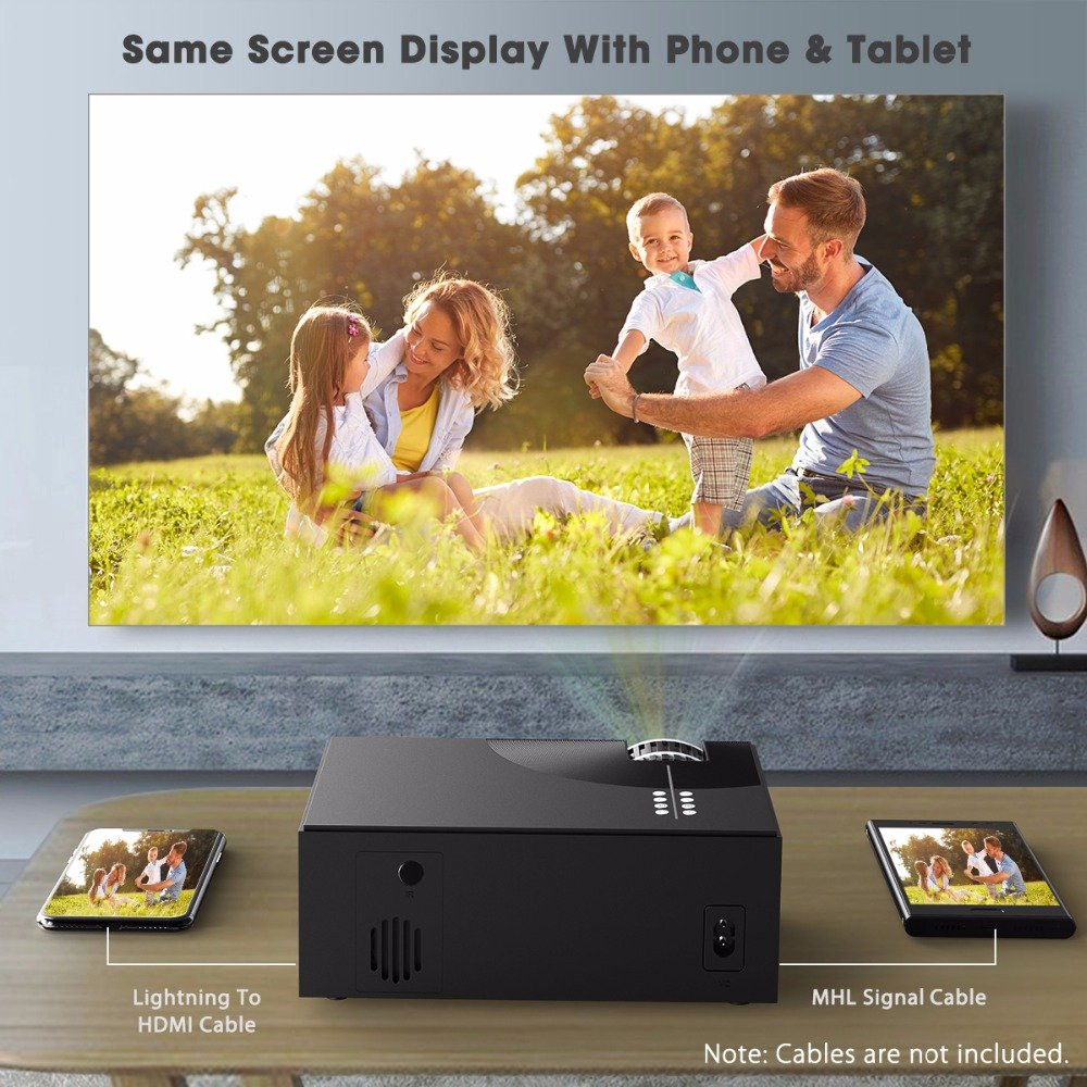 Alston C7 LED Video Projector for Home Cinema 2000 Lumens SAME SCREEN EDITION (black)